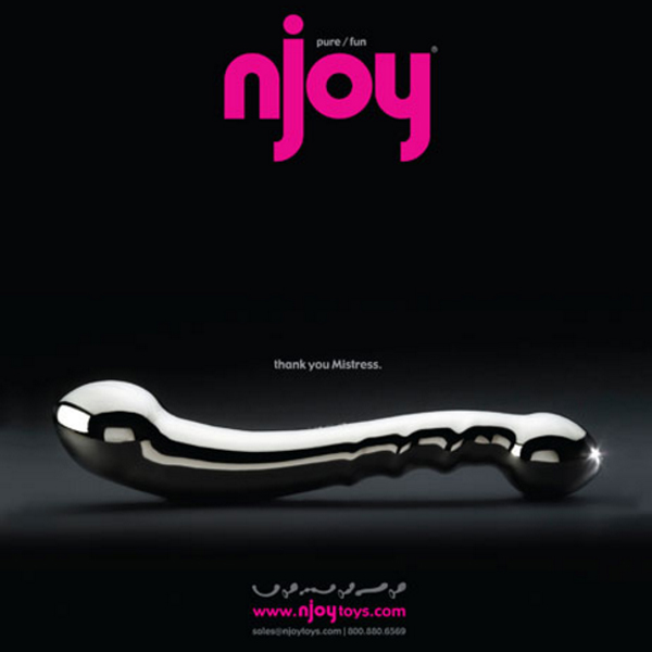 """nJoy logo with image of sex toy and caption """"Thank you, Mistress""""."""