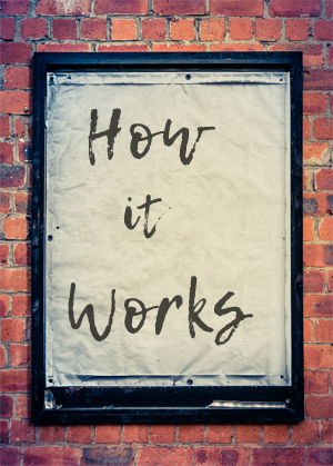 Poster paper against grungy brick wall says How it Works